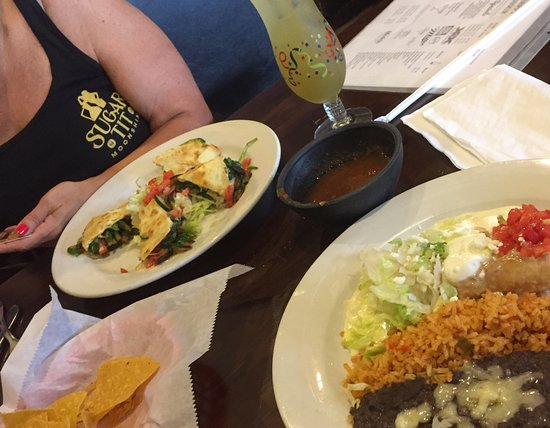 Mauldin, SC: Veggie quesadilla qnd chicken chimichanga with margarita! Delish. Refried beans are special.