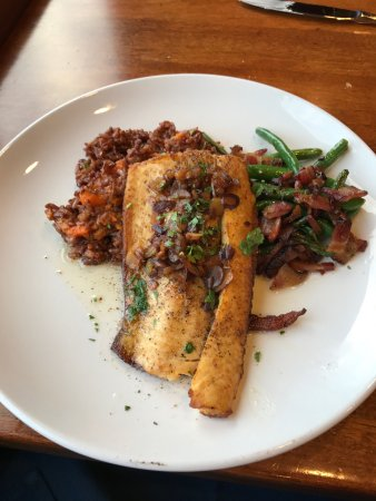Tofte, MN: Seared Lake Superior Trout (while looking at Lake Superior!)
