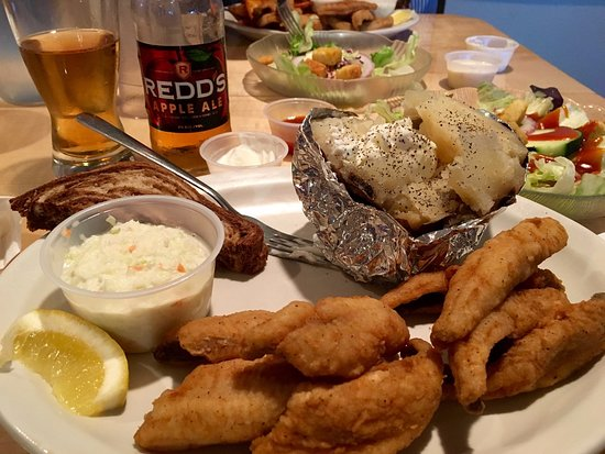 Grand perch dinner with fixins at Hillcrest Restaurant, Townsend, WI