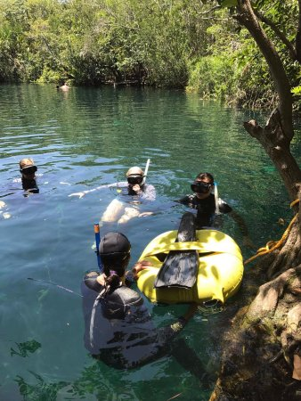 Acuatic Tulum: We took turns going down to do our free dives.