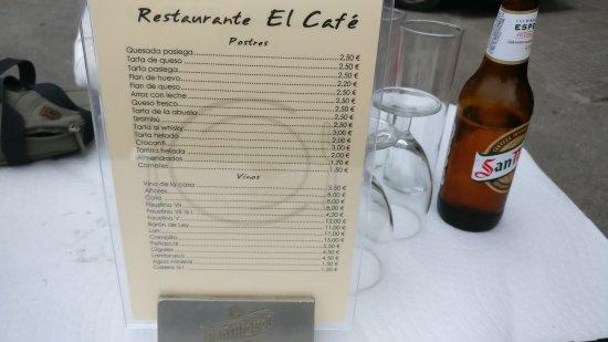Carta Fotografia De Restaurante El Cafe Vega De Pas Tripadvisor