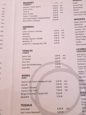 Beefeater Restaurants Drinks Menu