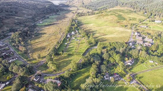 Duror, UK: Aerial view of the campsite