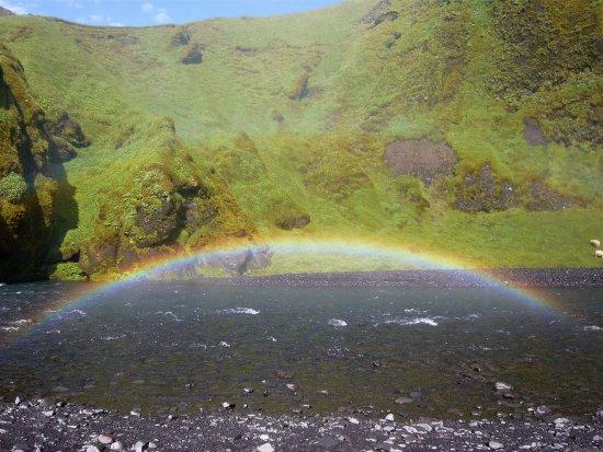 Skogafoss: rainbow near the waterfall