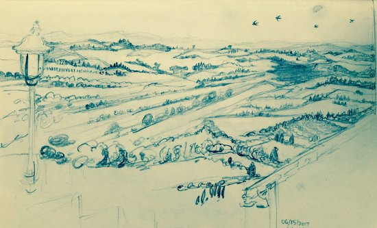 Castello delle Serre: My sketch from the veranda--view of Val d' Orcia and swallows
