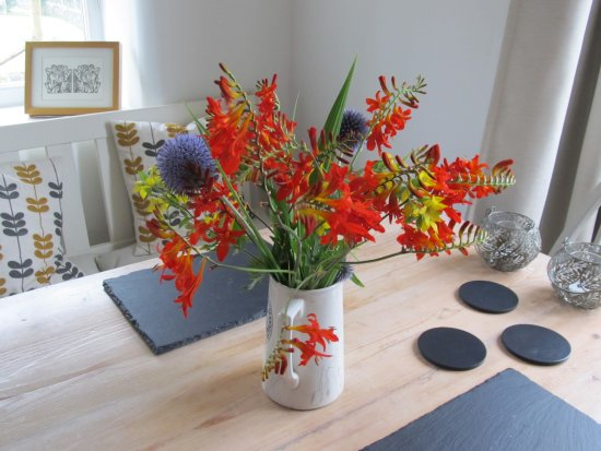 Over Haddon, UK: Christine kindly brought fresh flowers from the garden