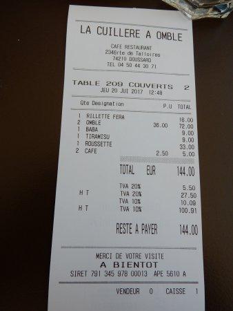 La Cuillère à Omble Café Restaurant: L'addition