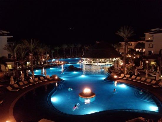 Cabo Azul Resort: Night view of three main pools.