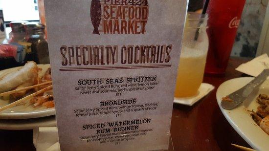 Pier 424 Seafood Market: Cocktail menu
