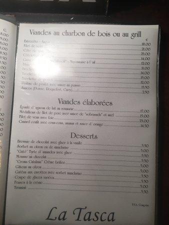 Le menu et nos plats