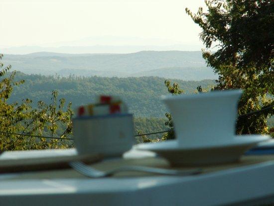 Farmhouse Colli di Travale: Panorama dal giardino della colazione. una favola