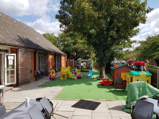 Fun Junction: Small outdoors yard with artificial grass