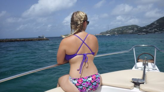 Oyster Pond, St. Maarten-St. Martin: Enjoying the views from the front of the boat :)