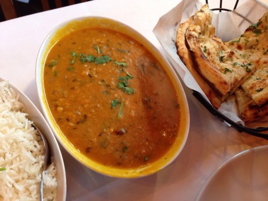 Sudbury, MA: Potato patties and yellow lentils with garlic naan