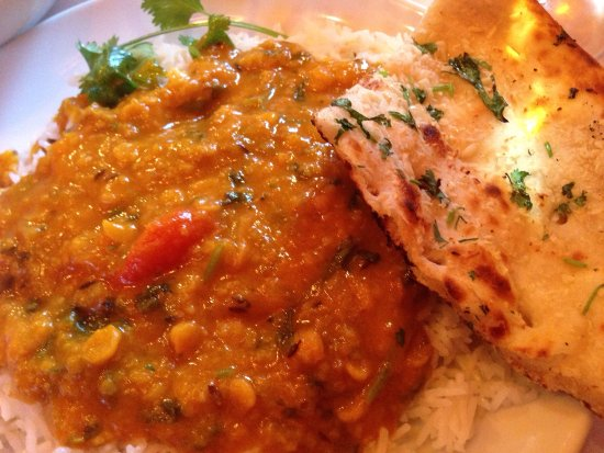 Sudbury, MA: Potato patties and yellow lentils with garlic naan