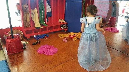 Northeast Texas Children's Museum: Dress up area with stage and mirror (near train tracks)