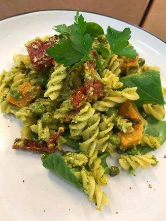 Cardiff, Australia: Roasted Pumpkin and sun dried tomatoes with avocado Pesto pasta