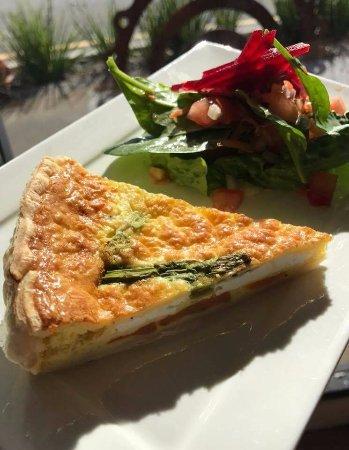 Cardiff, Australia: Sweet Potato and Feta Quiche with a side salad