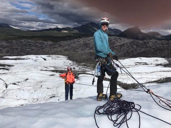 Glacier View, AK: Our guide was preparing to belay us down the ice sheet. Very easy -- just trust your ropes!