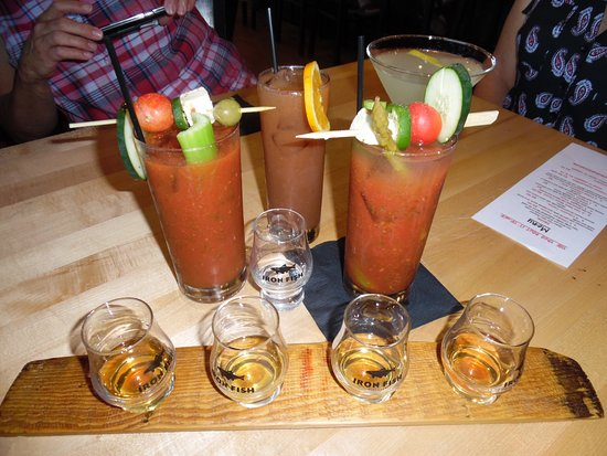 A flight of whiskies 2 bloody mary 39 s which were amazing for Iron fish distillery