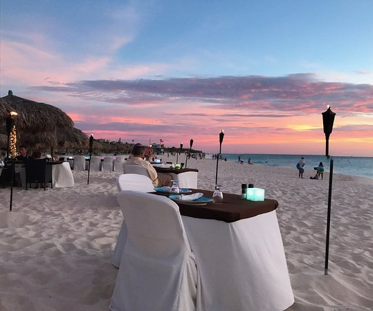 Tables set and ready for a relaxing, romantic dinner at Passions on the Beach