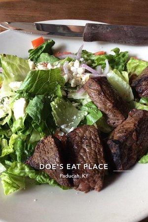 Doe's Eat Place: Black & Blue Steak Salad. Good cuts of steak. Standard salad fixings. House dressing is good.