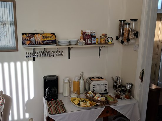 Devonshire House: Breakfast bar for cereals, yogurts, coffee, juice, toast and spreads.