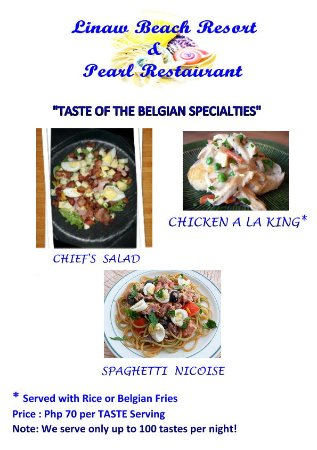 Pearl Restaurant at Linaw Beach Resort: Our menu for tonight....August 25, 2017    See you at Panglao Town Plaza