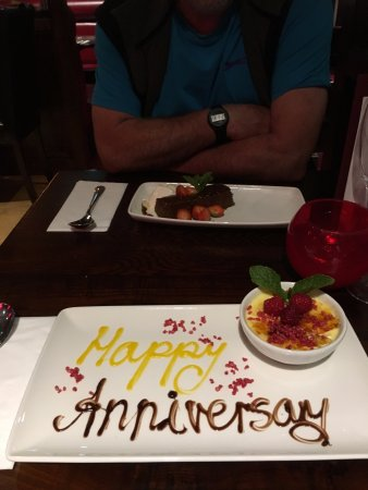 The waitress heard it was our anniversay, this was a thoughtful surprise