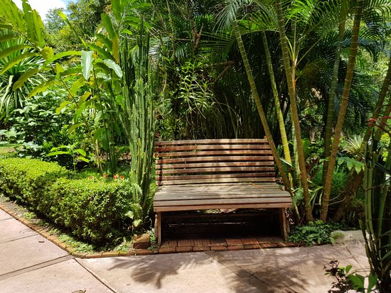 Ban Khiet Ngong, Laos: bench in the garden