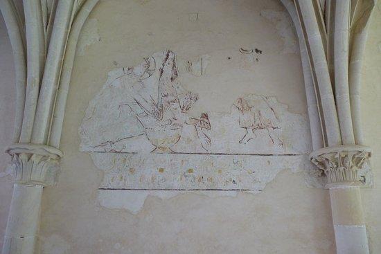 Hambye, Prancis: Salle capitulaire. Fresque de la scène du lavement des pieds (XIIIè)