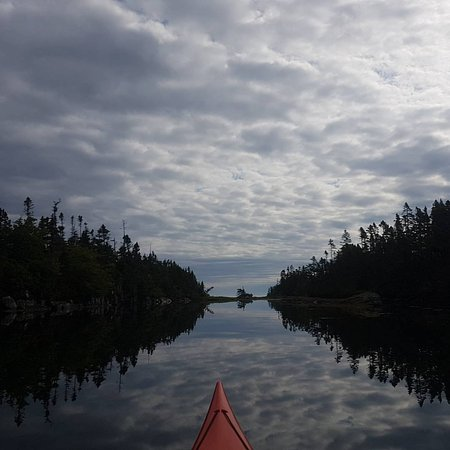 Pleasant Paddling: Weaving through the islands to get to the bay.