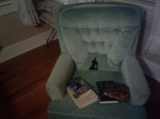 Cinnamon Ridge Bed and Breakfast: the owner left like this? bowtie and books on another random chair?