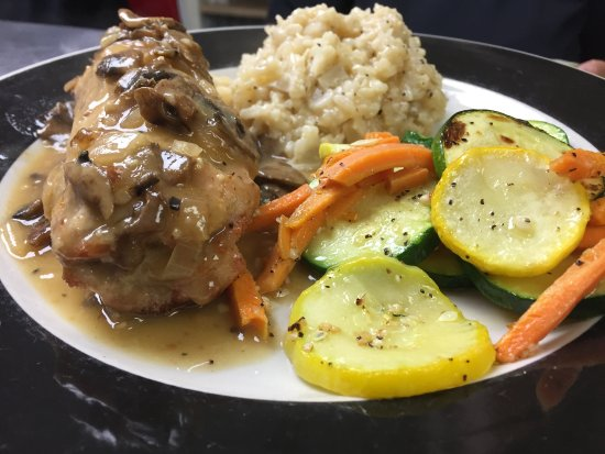 Culver, IN: Veal stuffed with Prosciutto, Provolone and Asparagus with a creamy Risotto and Roasted Veggies