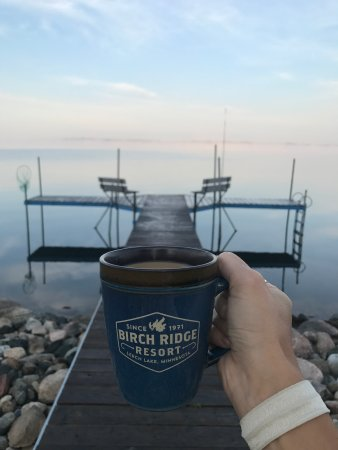 Cass Lake, Миннесота: Morning coffee on the dock with the crickets and loons calling.