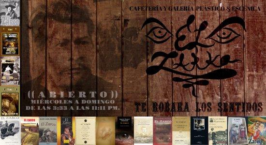"""Yautepec, México: LETRERO de """"EL ZARKO"""" con el Mtro. Ignacio Manuel Altamirano con múltiples ediciones de su novel"""