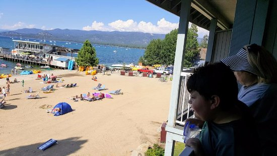 Beach Retreat & Lodge at Tahoe: View of the beach and pier from our balcony.
