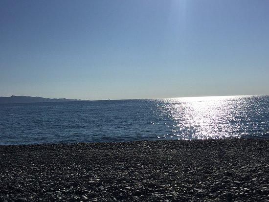 Ogliastro, France: Bella e comoda spiaggia di sassi; mare limpido e profondo