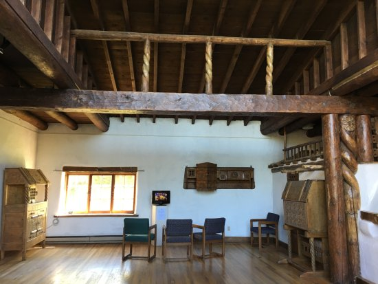 Taos Art Museum : Studio with hand carved furnishings and ornamentation.