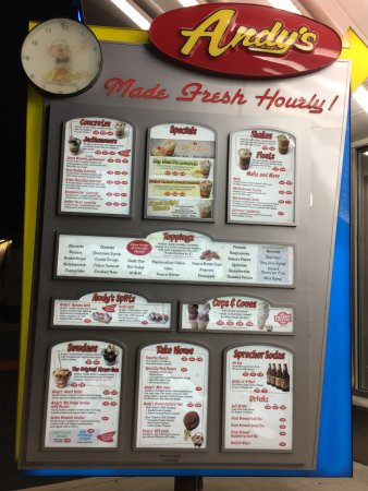 Andy's Frozen Custard : Menu Board