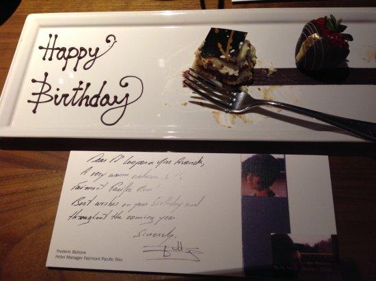 Fairmont Pacific Rim: Birthday offering
