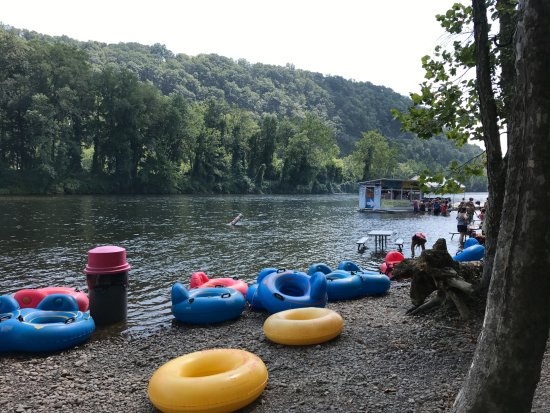 Bucks County River Country: Pit stop at the hot dog man when tubing down the river.