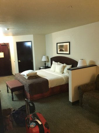 Oxford Suites Downtown Spokane : Definitely a full suite - the quarter wall separates the bed from the pull out couch