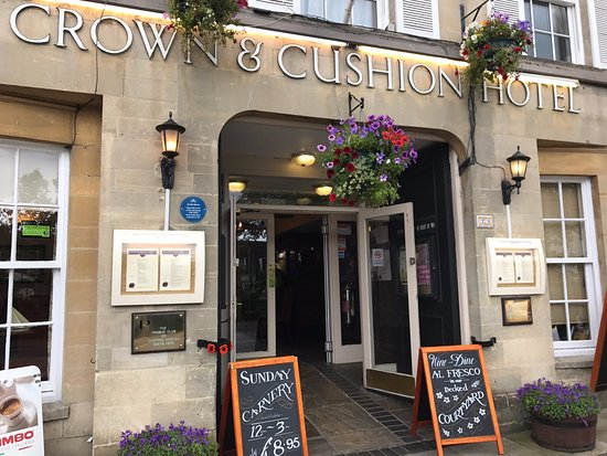Entrance to the Crown and Cushion hotel and bar