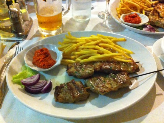 Privlaka, Croatia: Skewer, pork and fries