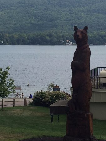 View of Lake George from the Bear Statue in public park.