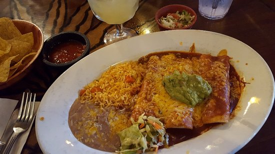 Azteca Mexican Restaurant : Enchiladas with a combination of chicken and Chile Colorado...