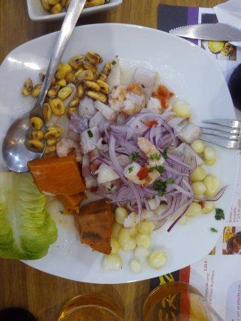 Province of Zaragoza, Spain: Ceviche de corvina, pulpo y langostinos