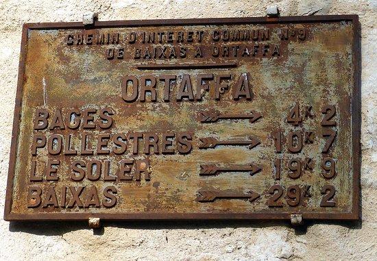 Ancienne plaque routière d'ORTAFFA