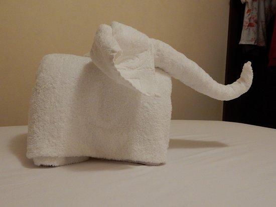 Décoration réalisée avec des serviettes de toilette - Picture of ...